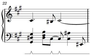 Wii Theme Piano Sheet Music - Last Line - First Bar - G#sus, B