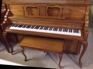 """Kimball 42"""" Concerto Queen Anne Pecan Console"""