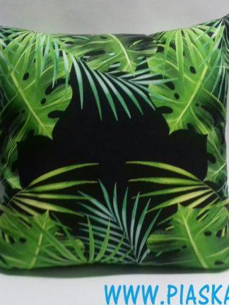 poduszka monstera liście zielone na czarnym tle