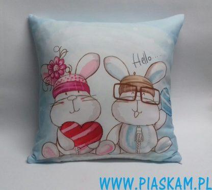 poduszka hello zajaczki króliczki serce