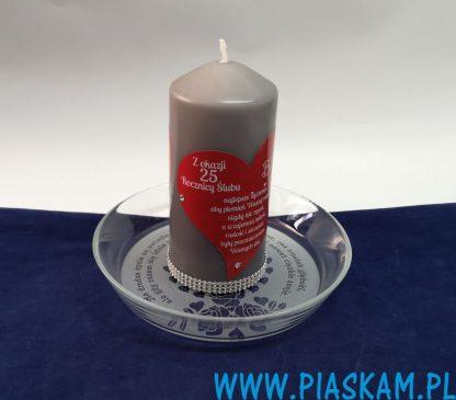 świeca i spodek spersonalizowany