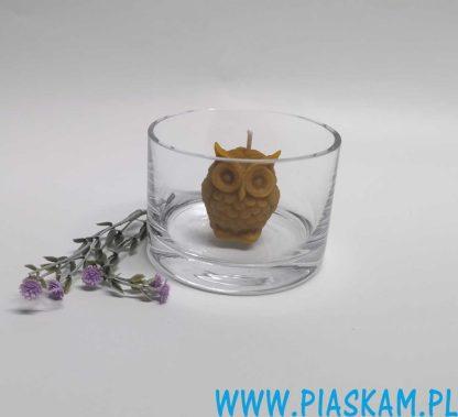 świecznik szklany cylinder świeczka sowa