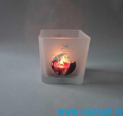 świecznik szklany maki
