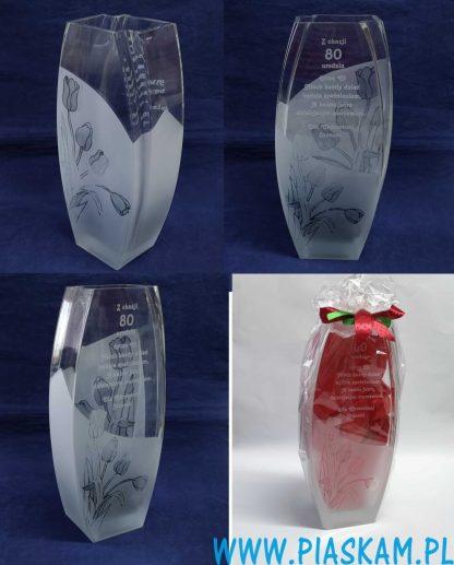 wazon piaskowany tulipany urodziny
