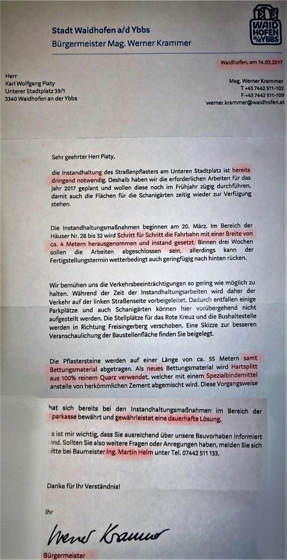 Bürgermeisterbrief Pflaster 14.3.2017 markiert