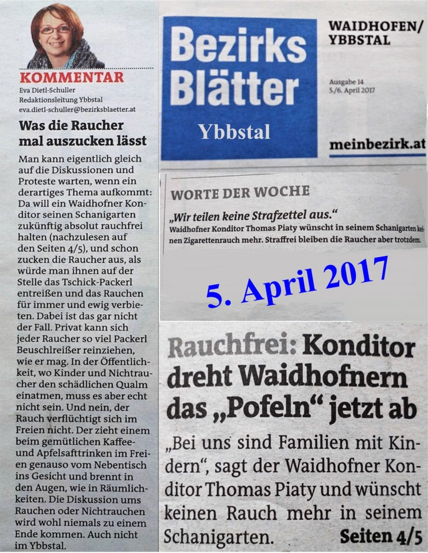 Bezirksblätter Artikel rauchfrei Ybbstal 5.4.2017