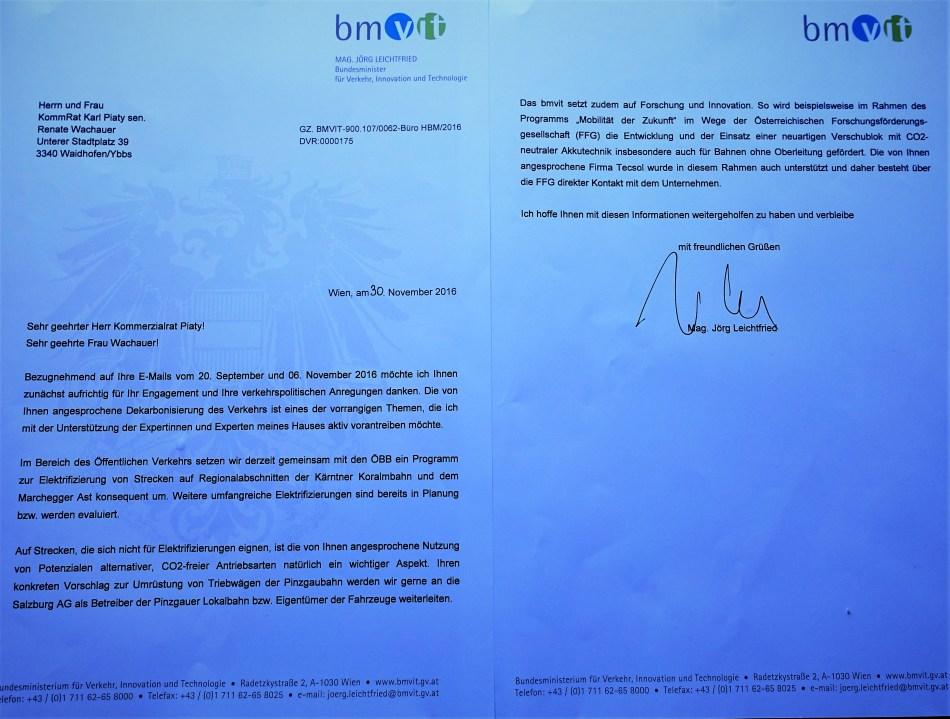 Brief Leichtfried E-Mobilität