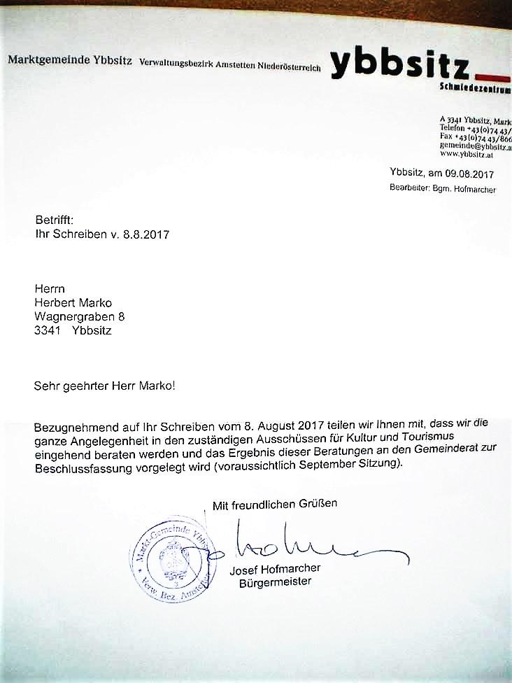 Beilage 3 - Antwort Hofmarcher auf Schreiben Marko Museum Ybbsitz 9.8.2017