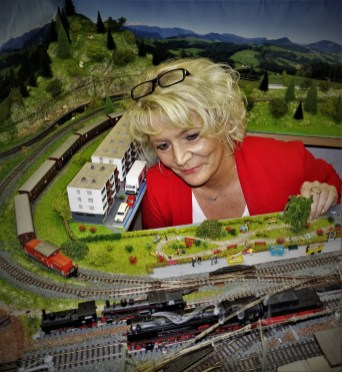 Eisenbahnanlage Wachauer mit dampfender Lok 3