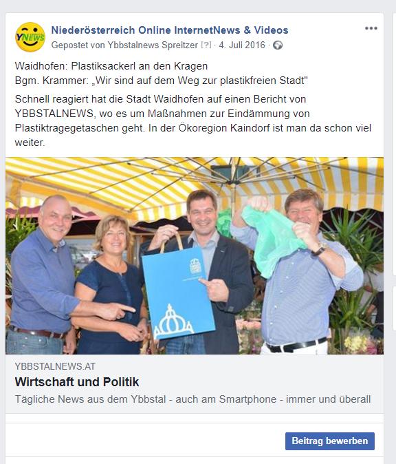 Plastikfreies Waidhofen bereits 2016