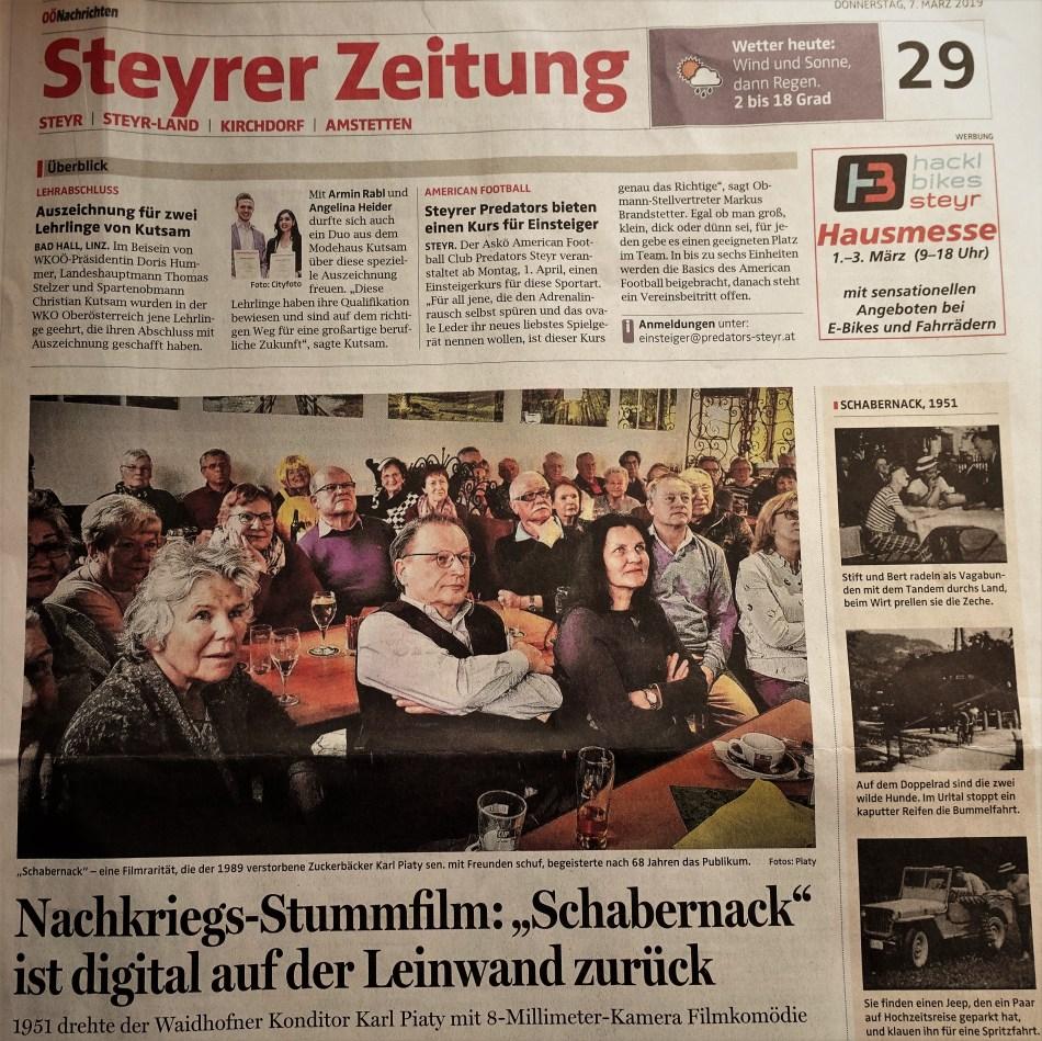 Titel Schabenrnack OÖN. 7.3.2019