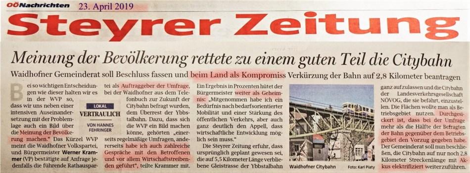 City Bahn Umfrage 23.4.2019 OÖN markiert