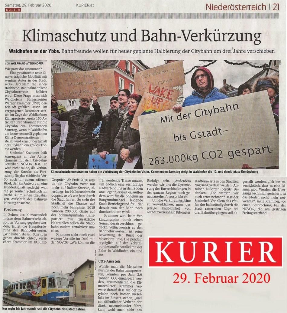 Kurier Citybahn 29.2.2020