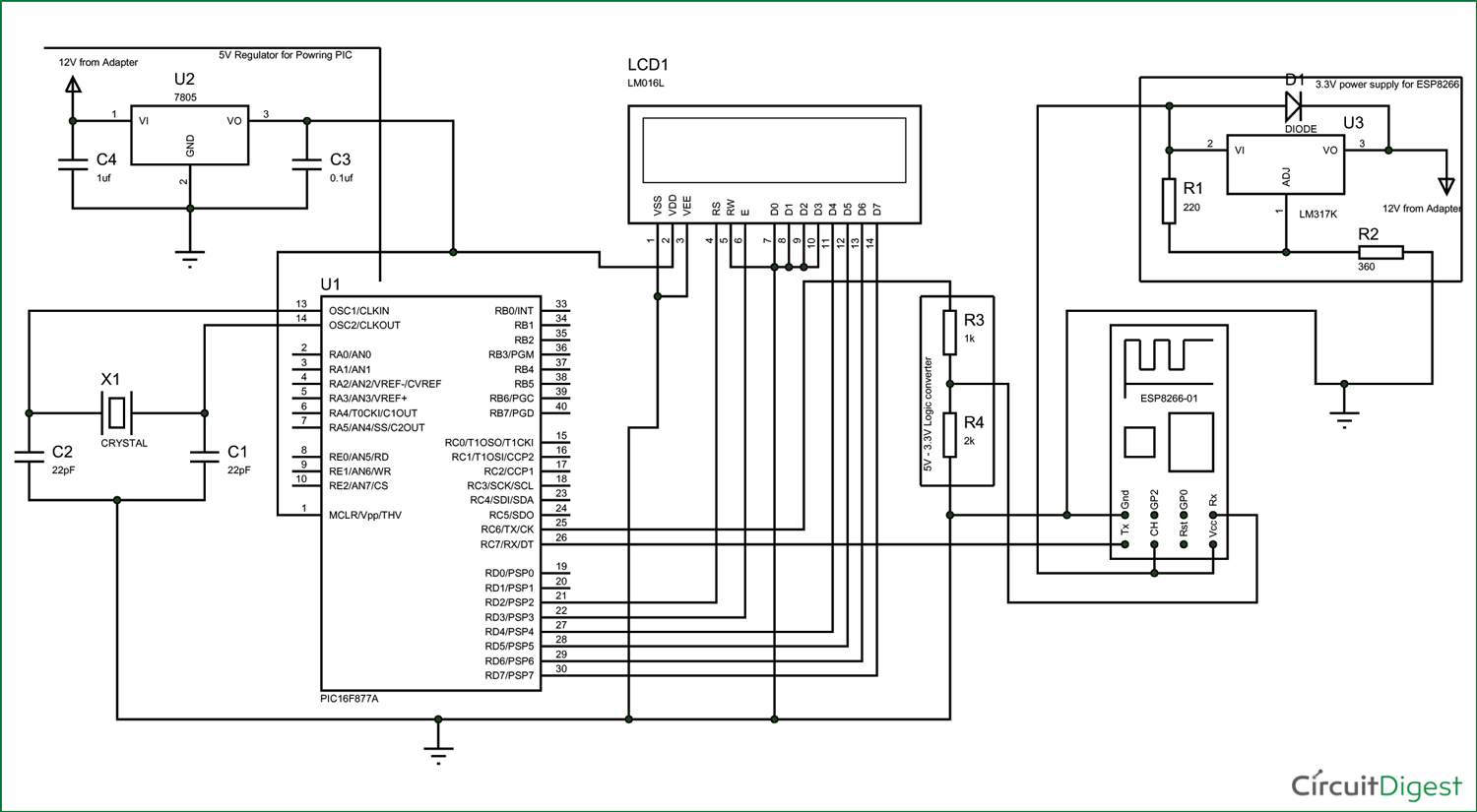 Interfacing Esp With Pic16f877a Microcontroller