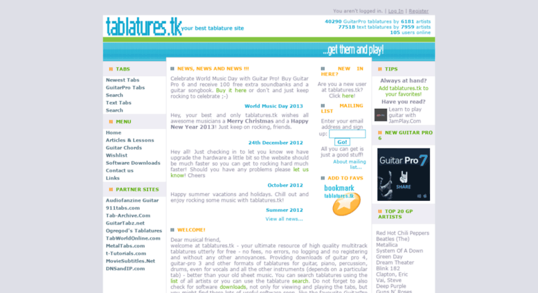 Access Tablatures.tk. Tablatures.tk