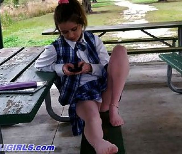 Schoolgirl Alaina In Pink Pantyhose