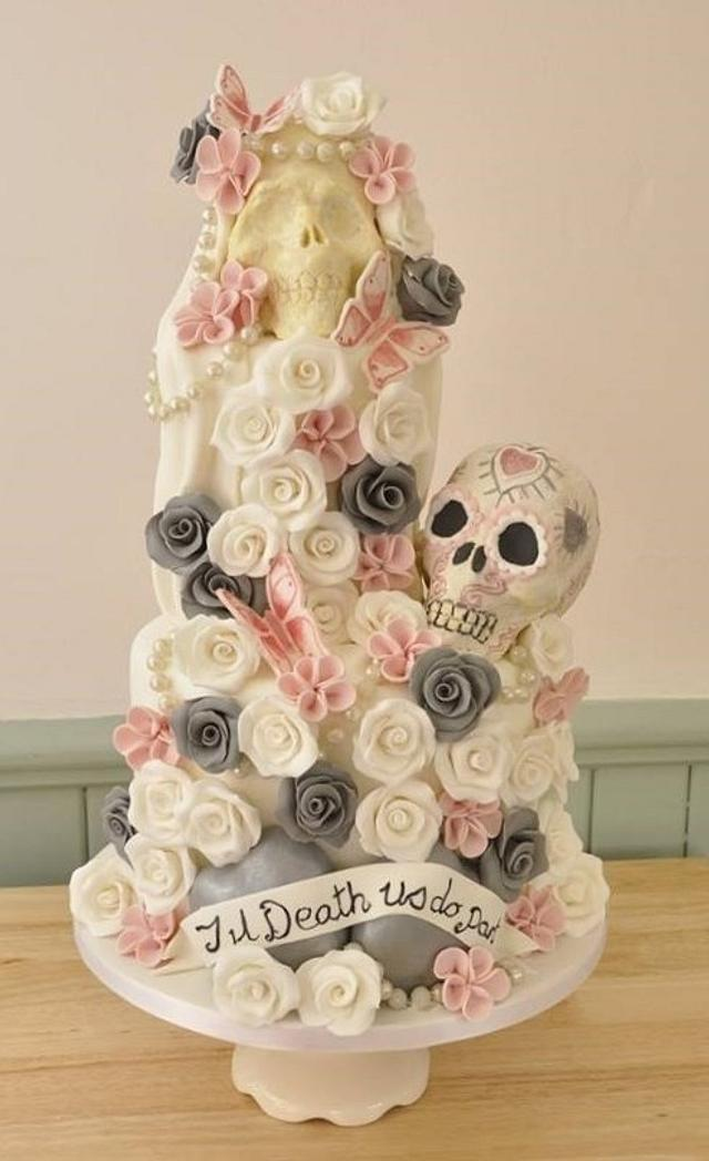 pastel de boda de calavera