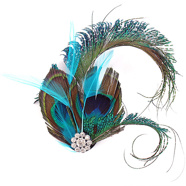 Peacock Feather Rhinestone Hairpin Hair Clip Dance Party