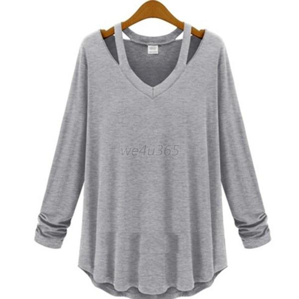 Women Cotton Soft Long Sleeve V Neck Loose Solid Casual T