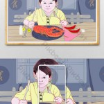 Fresh And Beautiful Illustration Of A Little Boy Eating Big Lobster In Summer Chinese Restaurant Illustration Psd Free Download Pikbest
