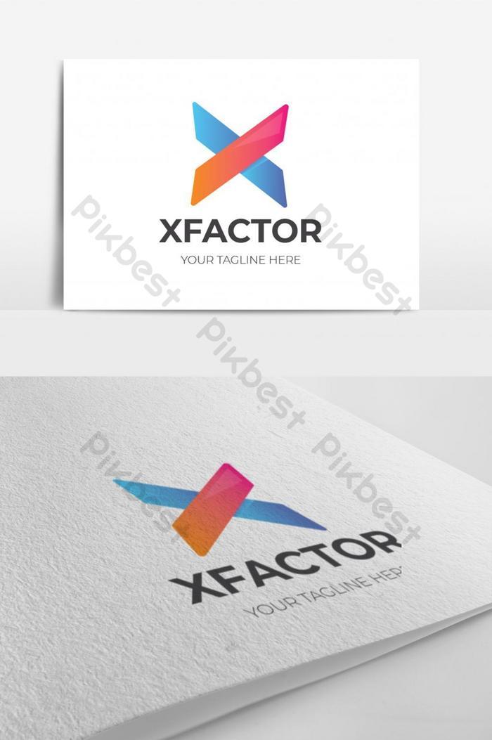 鮮豔的色彩抽象X字母徽標設計| EPS 素材免費下載 - Pikbest