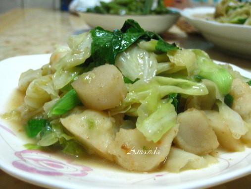 爆炒蔬菜干貝