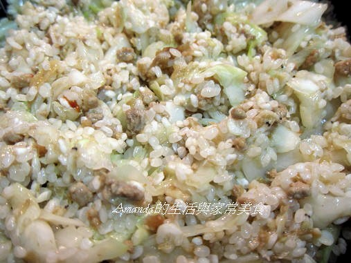 高麗菜肉燥飯-料炒好