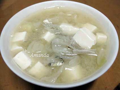 味噌豆腐魚乾湯