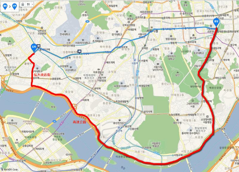 韓國計程車繞遠路
