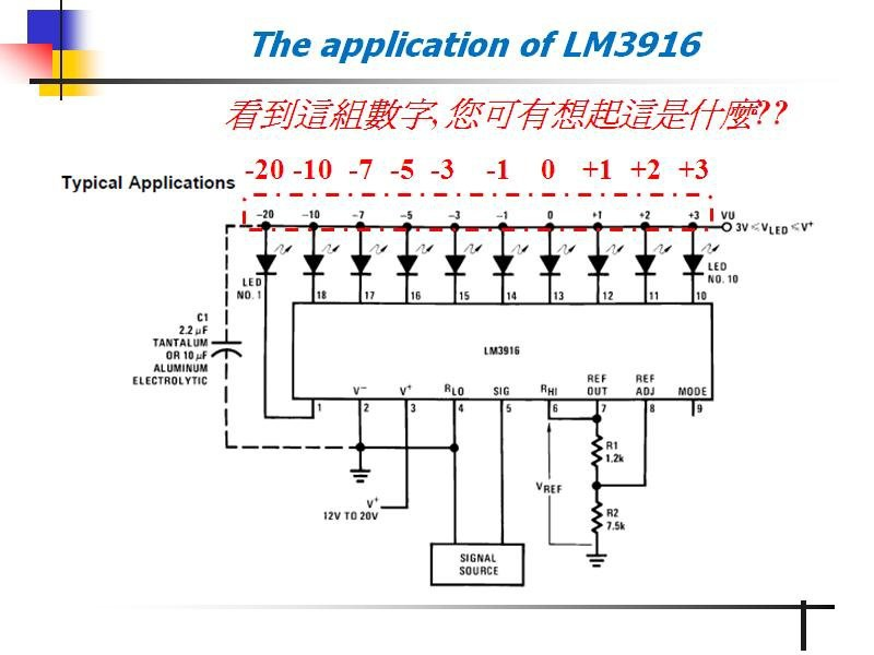 使用LM3915製作的對數型LED音量顯示器 (To Implement Log-type Audio Level