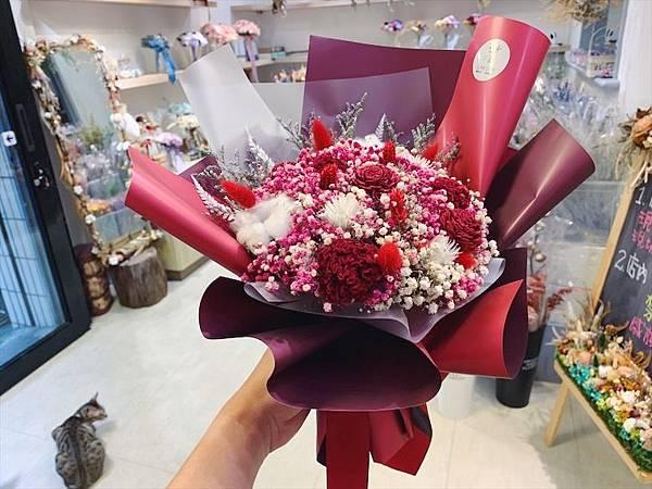 母親節花束推薦,乾燥花紅色韓式質感乾燥花束.JPG