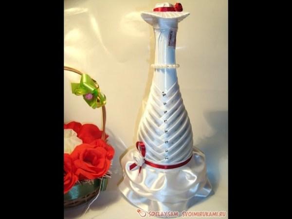 Свадебная бутылка- невеста. Украшения для свадьбы | Видео ...