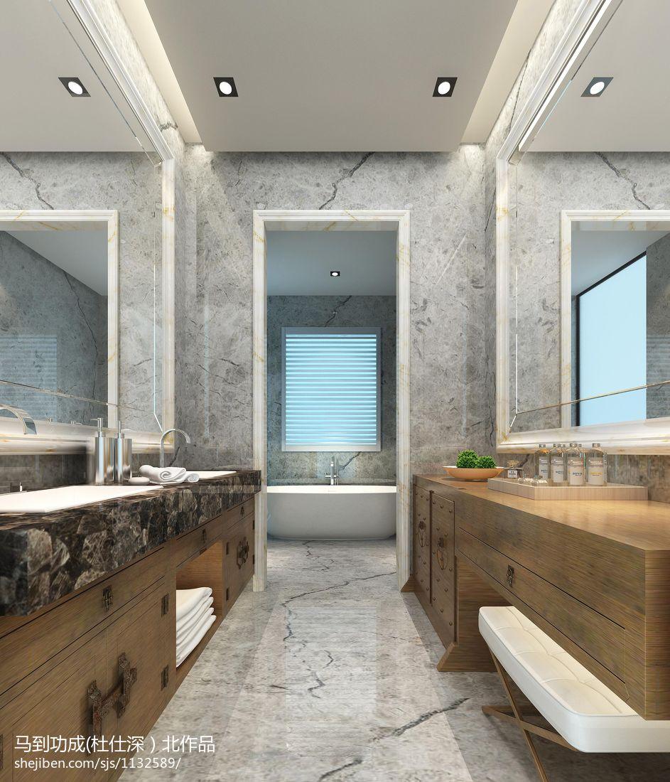 新中式_衛生間浴室柜裝修設計效果圖 – 設計本裝修效果圖