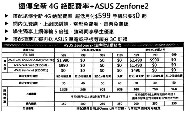 華碩 ZenFone 2 電信資費方案出爐,月租 599 手機 0 元 image