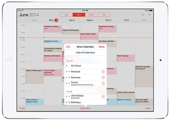 ios 8 新功能-家人共享-行事曆