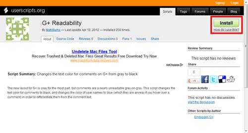 讓 Google+ 介面文字配色更醒目:G+ Readability install-userscript
