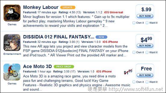 iPhone/iPad 免費應用程式(app)推薦、下載網站,讓你免費 APP 載不完 appshopper_app_list