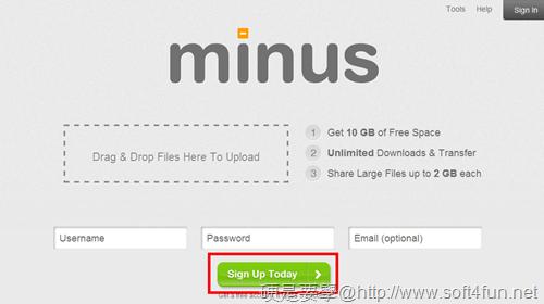 10G免費檔案空間「Minus」不限流量,可免費升級到 50GB Minus-01