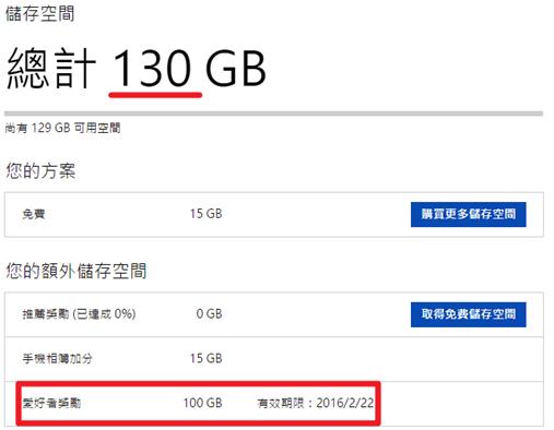 免費讓OneDrive雲端儲存空間激增100GB! onedrive05