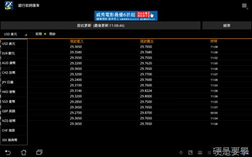 銀行即時匯率:即時查詢15家銀行外幣匯率(Android軟體) -02