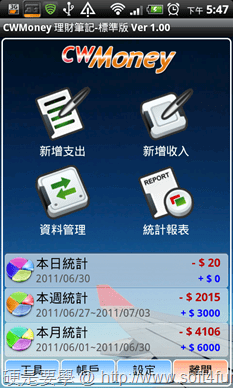 [Android] 4款精選生活應用APP(記事本、記帳工具、桌面便利貼) CWMoney-01