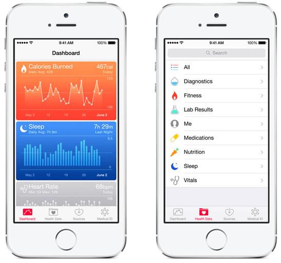 iOS 8 推出「健康」控制面板 App,透過 HealthKit 與健身健康 App 協作 ios-8---