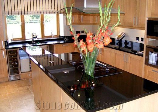 Angola Black Kitchen Island Top Black Granite Kitchen