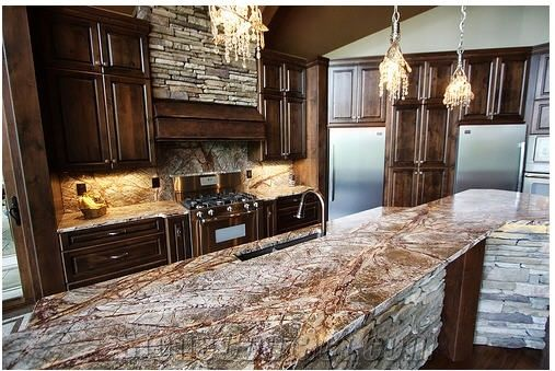 Rain Forest Green Marble Kitchen Countertop From United