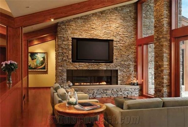 Moose Mountain Stacked Stone Thin Veneer Fireplace