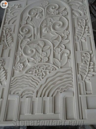 China White Marble Carving Relief Wall Panel
