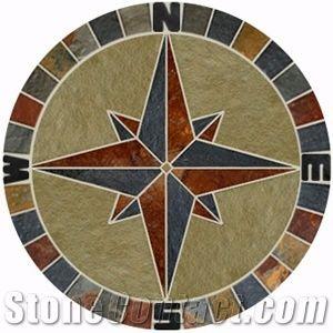 24 slate and limestone compass rose