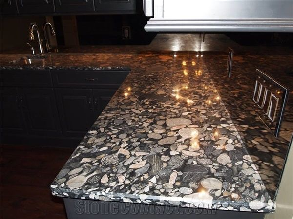 3cm Thick Polished Black Marinace Granite Bedrock Counters With 14 Beveled Edge Profile From