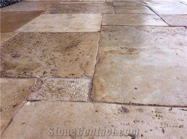 antique french limestone flooring 15th