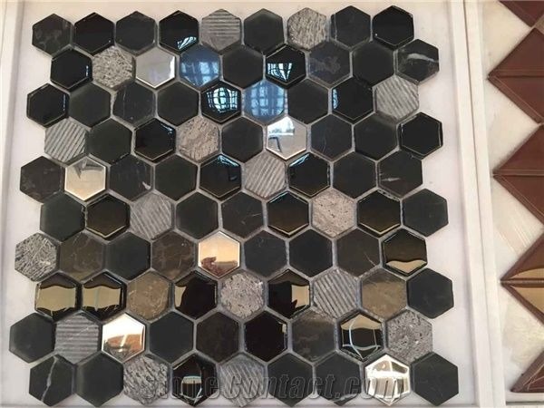 glass hexagonal mosaic mixing glass